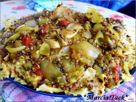 Rfissa, plat traditionnel marocain au poulet et msemmens