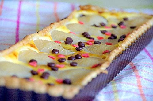 Recette de tarte aux poires et pépites de chocolat