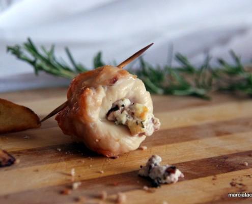 recette bouchée de poulet roulée au chèvre et olive noire