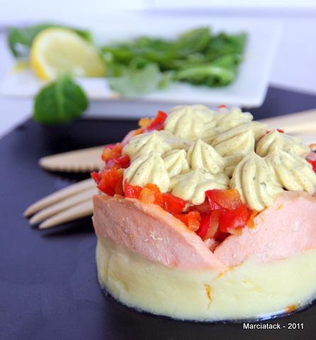 Parmentier de saumon, poivrons rouges et boursin cuisine Thaï