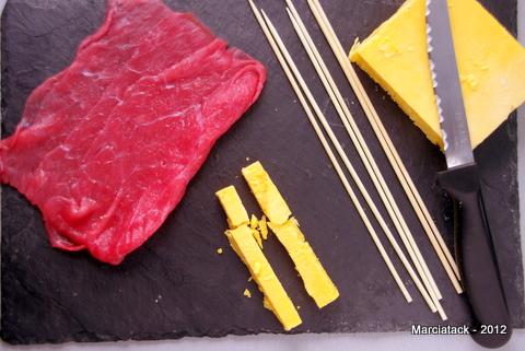 Brochette boeuf fromage fondant
