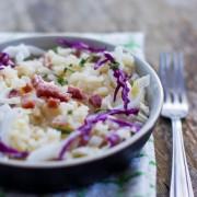 recette de risotto aux lardons, choux rouge et sauge