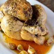 Recette facile de poulet roti à l'ail