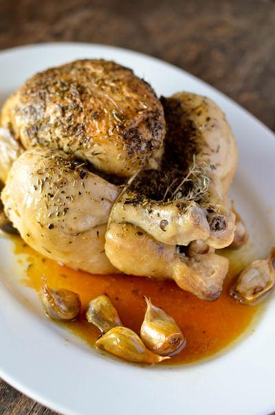 poulet roti à l'ail