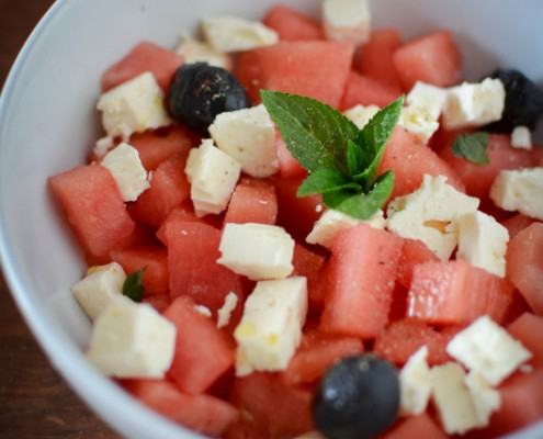 Recette de salade de pasteque, menthe, olive et feta