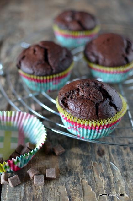 muffins au chocolat gonflés