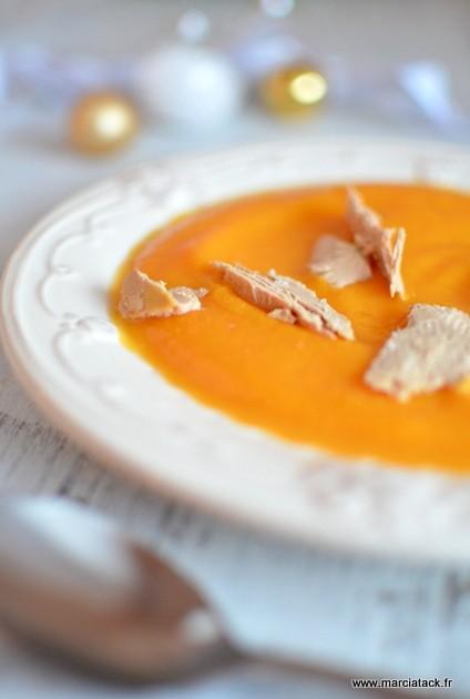 Recette de velouté de courge butternut au foie gras