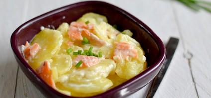 un gratin de pommes de terre au saumon