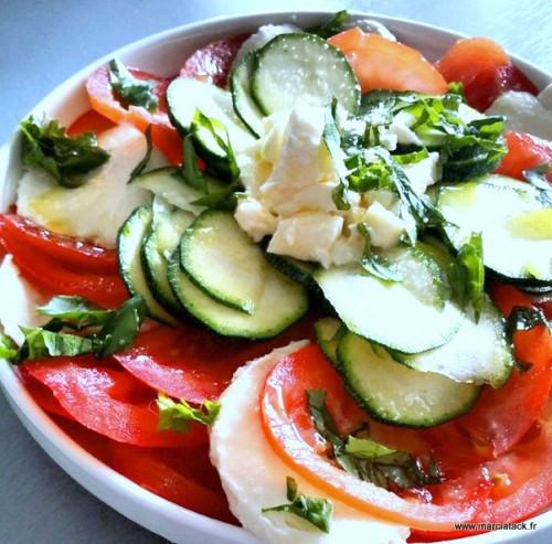 une assiette de tomates et courgettes crues à manger en salade
