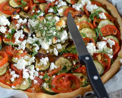 Recette tarte au tian de légumes et féta salakis