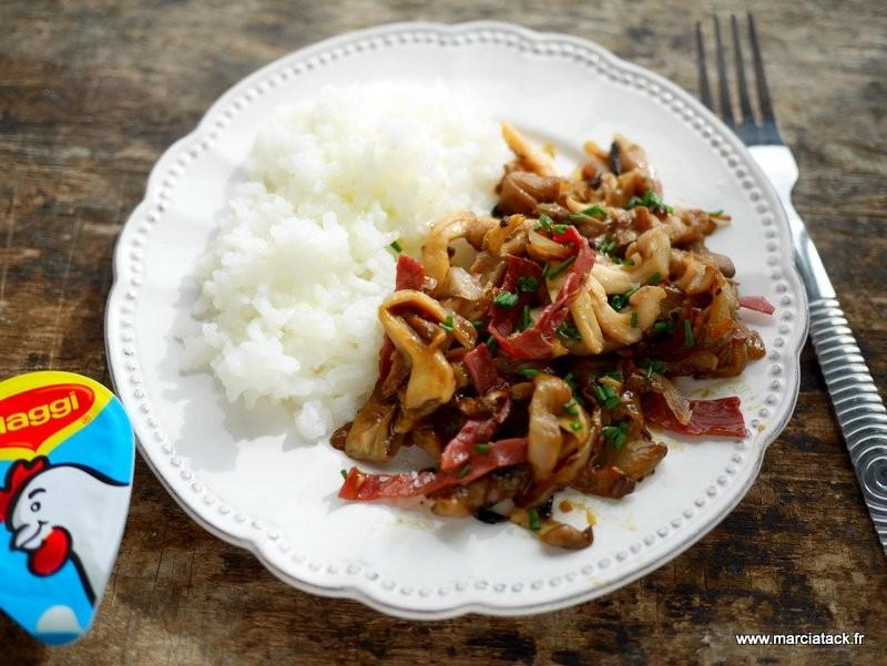 risotto champignons et viande des grisons