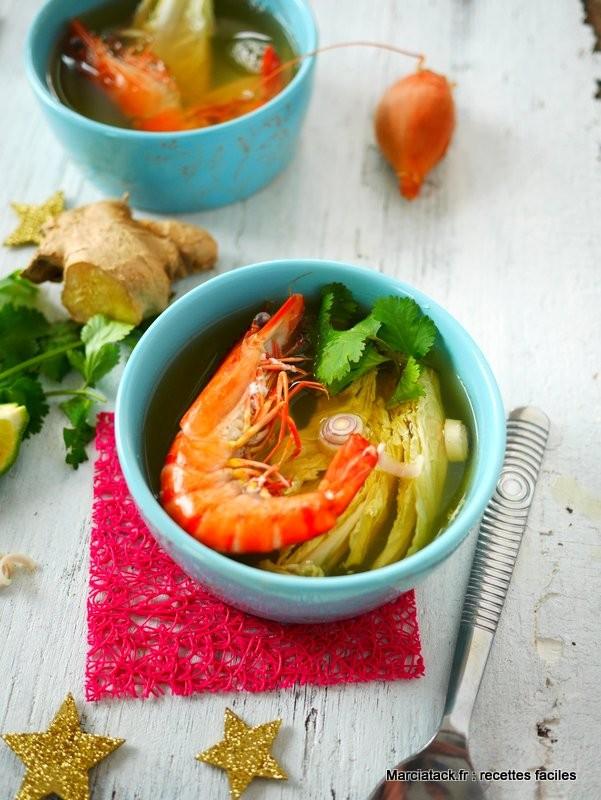 L ger et frais bouillon de crevette grise courgette - Repas de fete leger ...