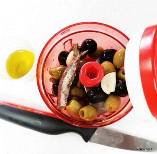 Recette tapenade d'olives rapide et facile, méthode Tupperware