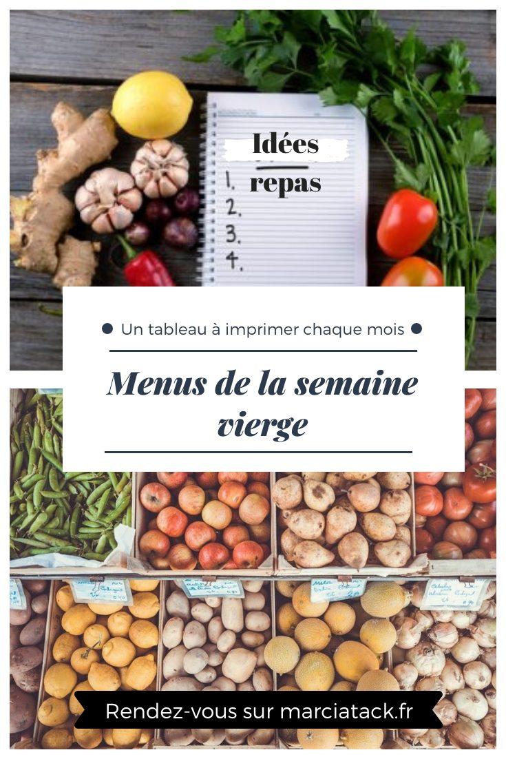 menus de la semaine à imprimer