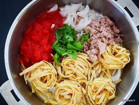 One pan pasta thon/tomates