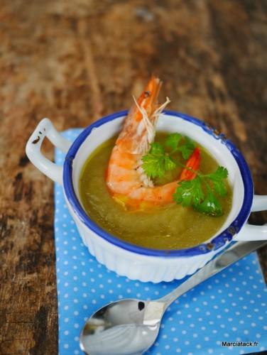 Soupe de poireaux aux crevettes