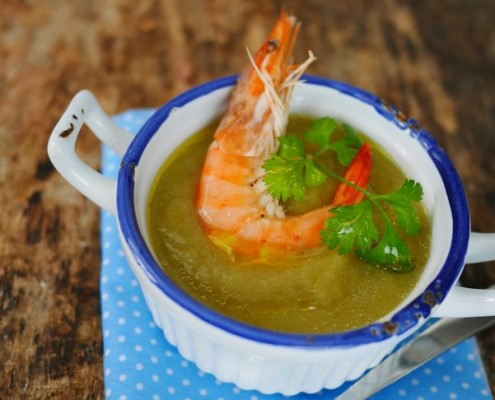 recette de soupe de poireaux et crevettes