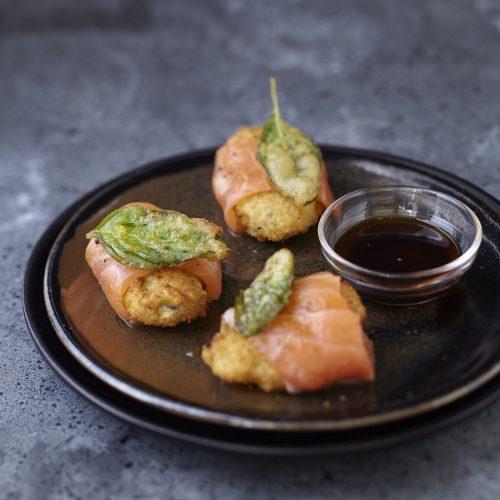 huitres chaudes croustillantes et saumon mariné
