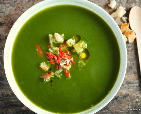 recette de soupe au cresson, chorizo et gingembre