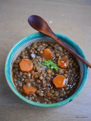 Lentilles mijotées à la marocaine