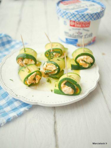 recette pour l'apéro : courgettes et fromage