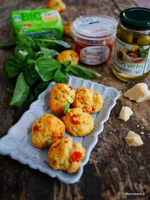 Cookies salés apéro, tomates séchées et olives vertes