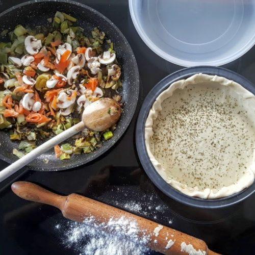 quiche cahmpignon poireau truite fumée, recette tupperware