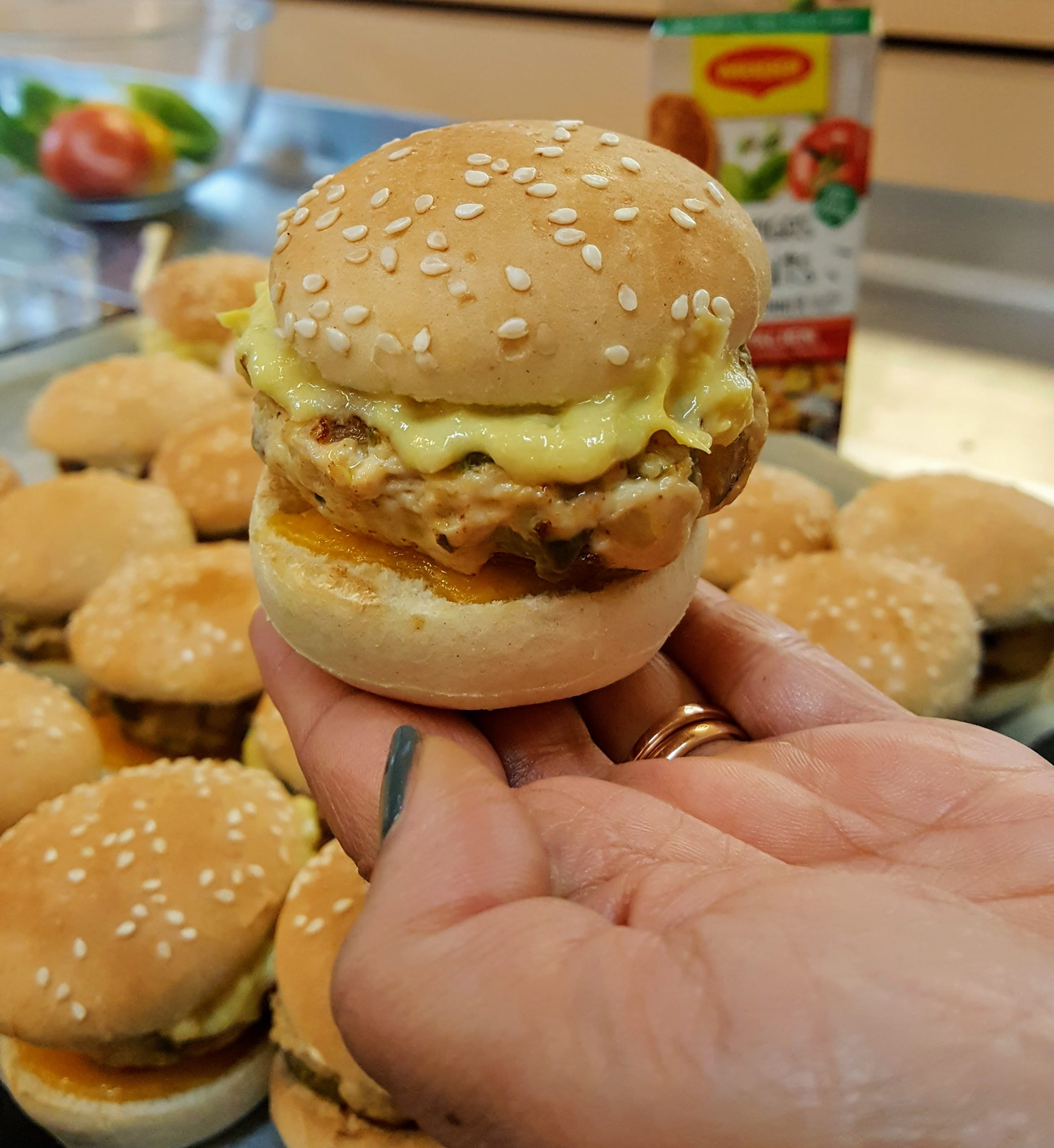 mini burgers au steack haché de poulet