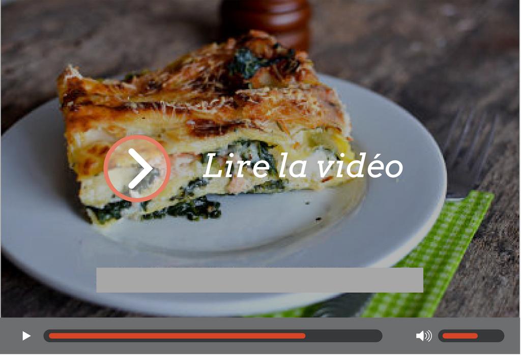 une vidéo de lasagnes aux épinards et au saumon