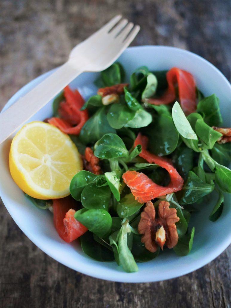 salade de mache au saumon et noix