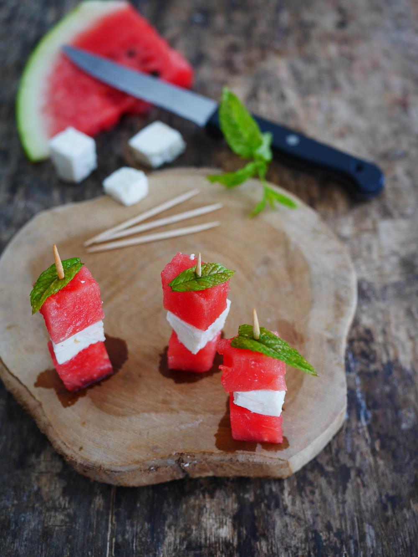 brochette apéro pastèque féta et menthe