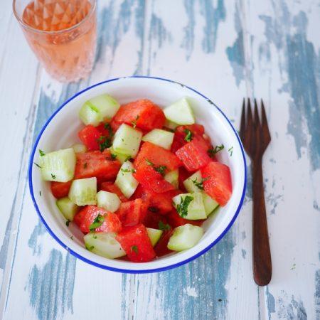 recette de la salade d'été : concombre et pastèque