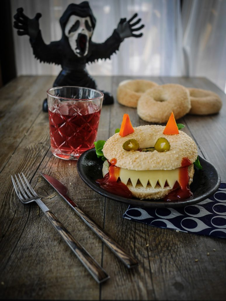 recette d'halloween : bagel végétarien