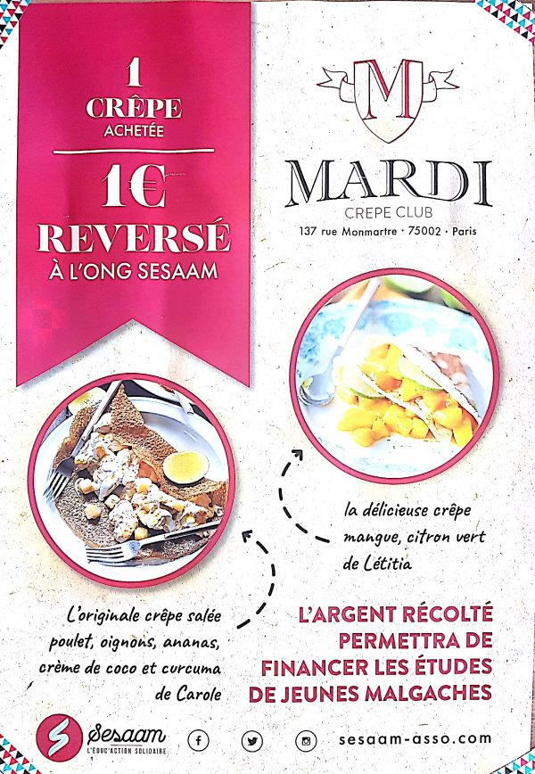 """Foncez manger de bonnes crêpes Solidaires chez """"Mardi Crêpe Club"""""""
