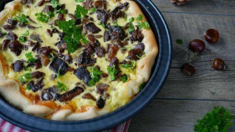 recette quiche champignon chataignes