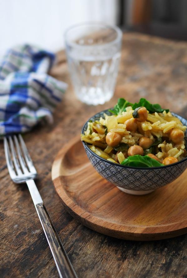 Curry de légumes : blettes et pois chiches