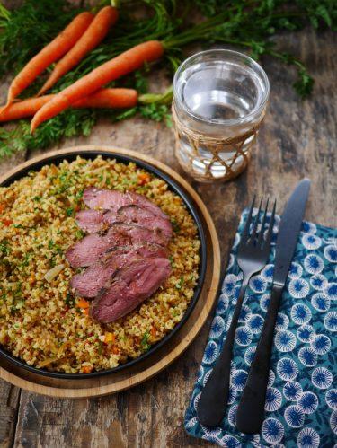 Recette de Salade de quinoa et magret de canard cuisson basse température