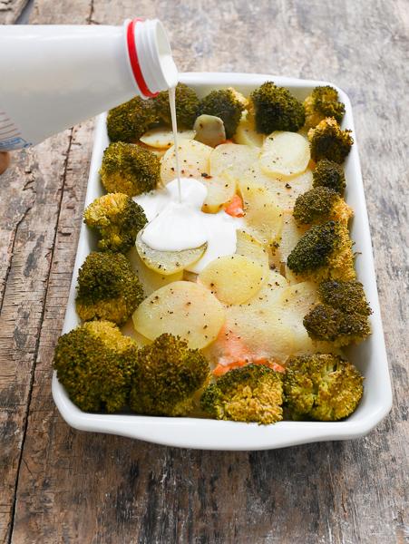 Gratin de patates, truite fumée et brocolis - Cuisson vapeur douce