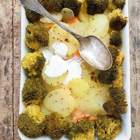 Recette de gratin de pommes de terre brocolis et sauon fumé