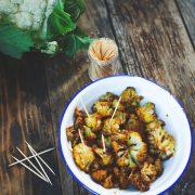 fleurette de chou fleur roti au four et cuits aux épices