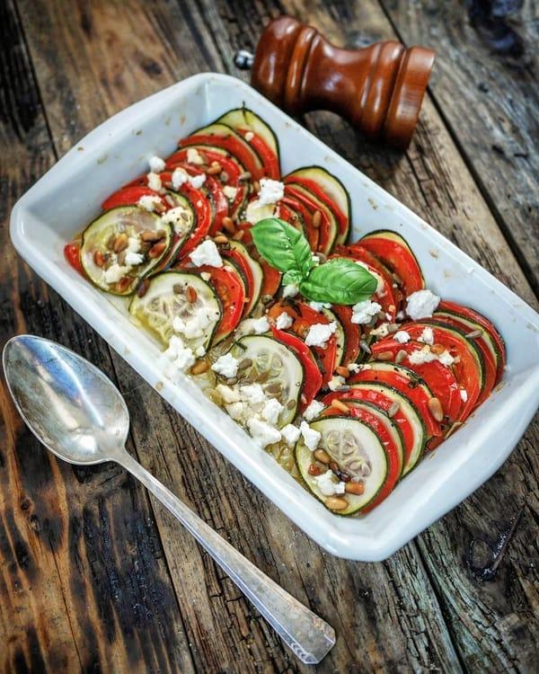 Tian de légumes sur lit de pesto - Cuisson vapeur douce