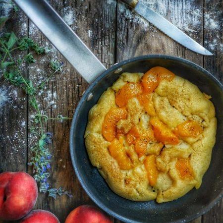 recette de gâteau pêche cuit à la poêle