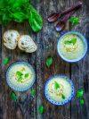 bols de velouté de concombre coco