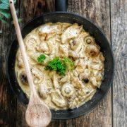 poulet à la crème champignons et moutarde