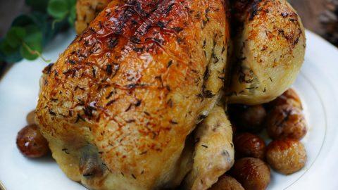 poulet de noel aux marrons et farce végétale