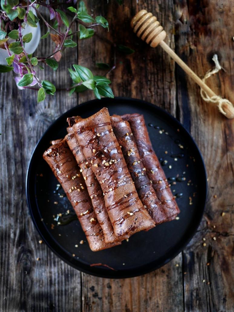 Crêpes chocolat miel et pralin