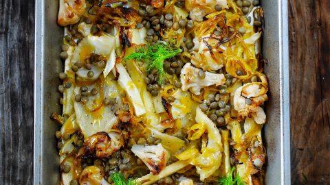 Plat de panais, fenouil et choux rôtis au miel