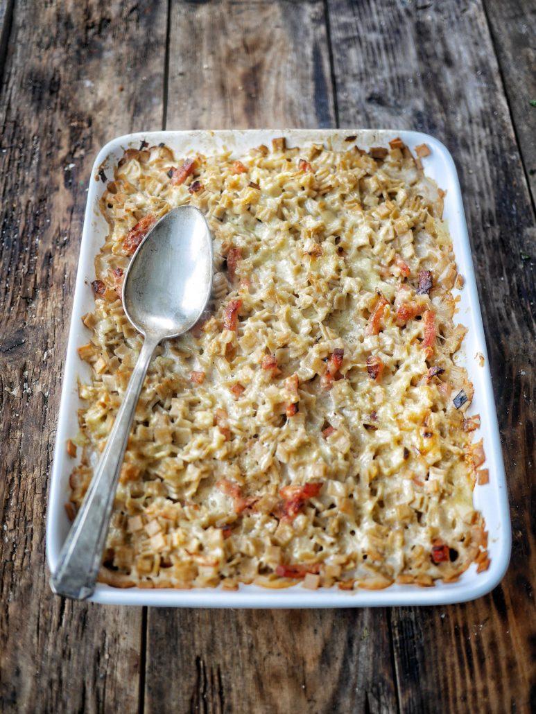 plat à gratin de crozets de Savoie aux lardons et poireaux