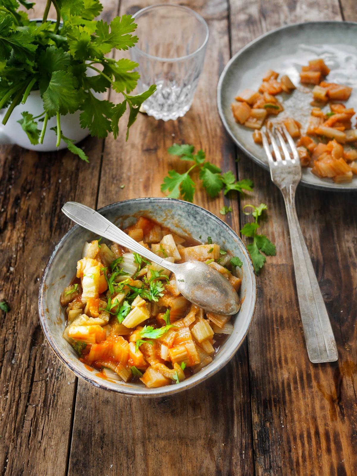 recette de cardons à la sauce tomate, version Provençale