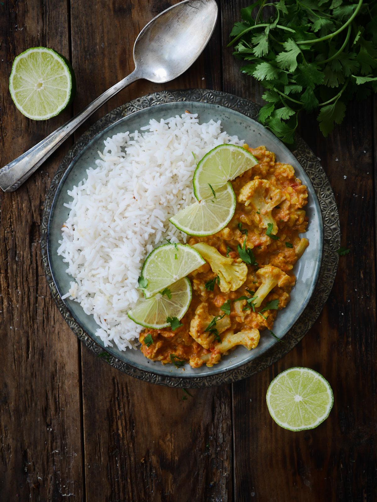 Curry de chou-fleur aux lentilles corail